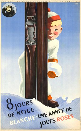 SNCF 8 Jours De Neige Joues Roses 1938 | Vintage Travel Posters 1891-1970