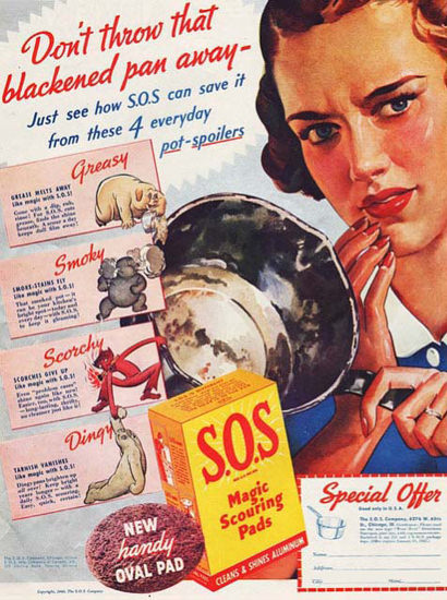 SOS Magic Scouring Pads Dont Throw Pan Away   Vintage Ad and Cover Art 1891-1970