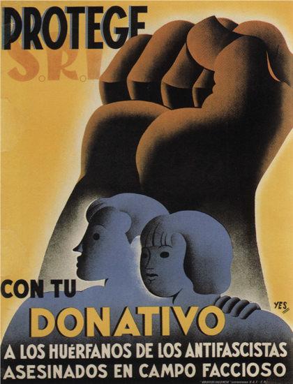 SRI Protege Con Tu Donativo Spain Espana | Vintage War Propaganda Posters 1891-1970