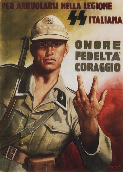 SS Italia Nella Legione Onore Fedelta Coraggio   Vintage War Propaganda Posters 1891-1970