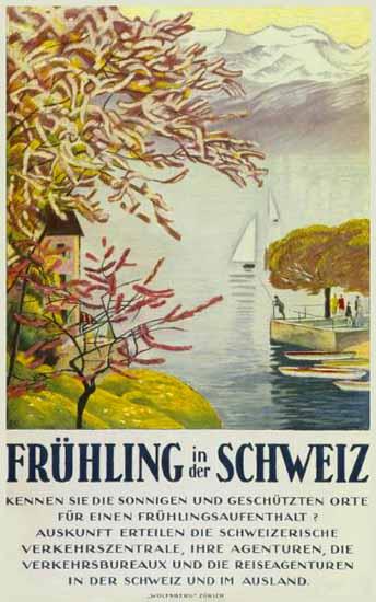 SVZ Fruehling Schweiz Swiss Spring In Switzerland 1921 | Vintage Travel Posters 1891-1970