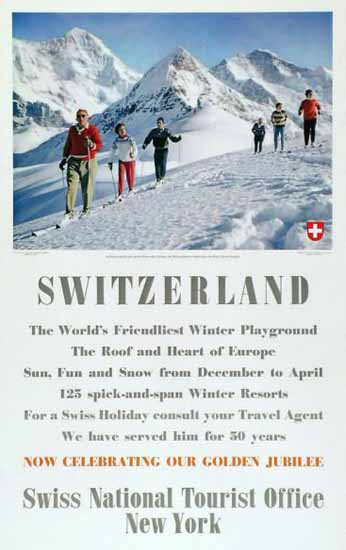 SVZ Switzerland Worlds Friendliest Playground 1958 | Vintage Travel Posters 1891-1970