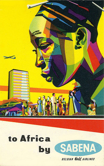 Sabena Africa 1950s Belgian World Airlines 1950s | Vintage Travel Posters 1891-1970
