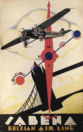 Sabena Belgian Air Line 1930s | Vintage Travel Posters 1891-1970