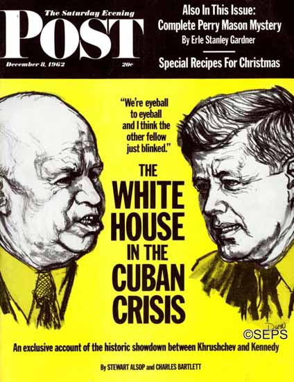 Sam Dion Saturday Evening Post White House in Cuban Crisis 1962_12_08 | The Saturday Evening Post Graphic Art Covers 1931-1969