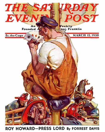 Samuel Nelson Abbott Saturday Evening Post Winning Hand 1938_03_12 | The Saturday Evening Post Graphic Art Covers 1931-1969