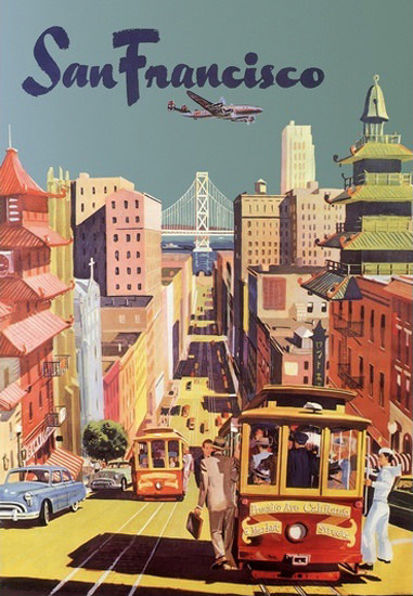 San Francisco Cablecar Downtown | Vintage Travel Posters 1891-1970