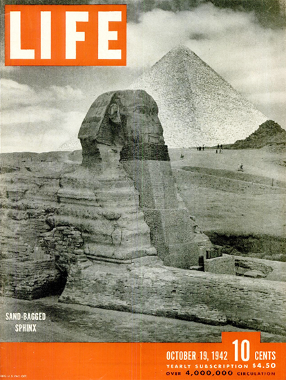 Sand-Bagged Sphinx 19 Oct 1942 Copyright Life Magazine | Life Magazine BW Photo Covers 1936-1970