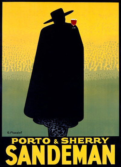 Sandeman Porto Sherry Silhouette Massiot | Sex Appeal Vintage Ads and Covers 1891-1970