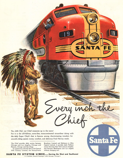 Santa Fe Every Inch The Chief 1948 by Dave Mink | Vintage Travel Posters 1891-1970