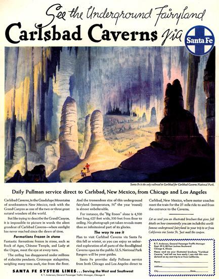 Santa Fe Fairyland Carlsbad Caverns 1948 | Vintage Travel Posters 1891-1970