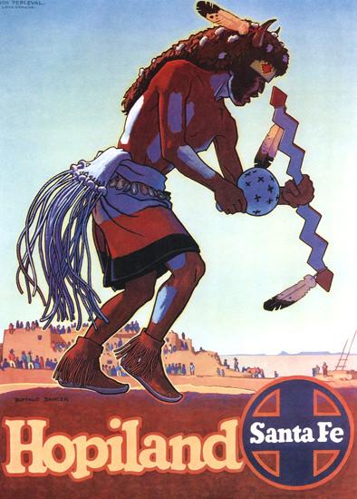 Santa Fe Hopiland 1949 Don Perceval   Vintage Travel Posters 1891-1970