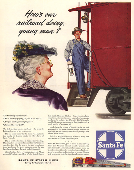 Santa Fe Hows Railroad Doing Young Man 1948 | Vintage Travel Posters 1891-1970