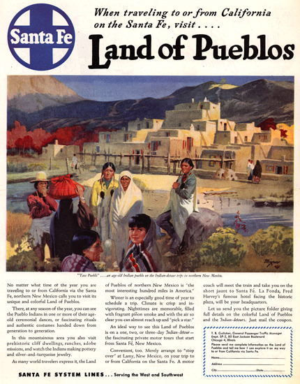 Santa Fe Land Of Pueblos 1947 | Vintage Travel Posters 1891-1970