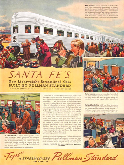 Santa Fe Lightweight Streamlined Pullman 1940 | Vintage Travel Posters 1891-1970