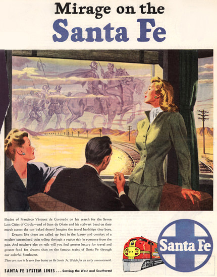 Santa Fe Mirage On The Santa Fe 1946 | Sex Appeal Vintage Ads and Covers 1891-1970