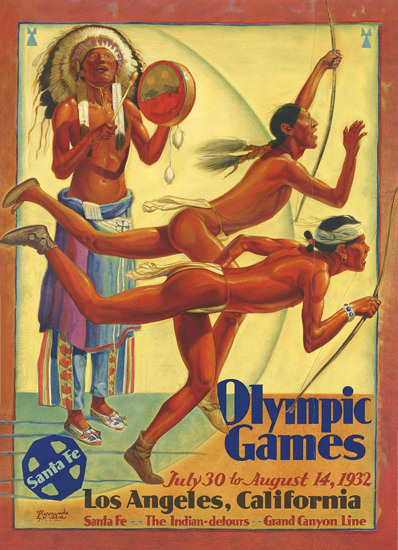 Santa Fe Olympic Games Los Angeles 1932 by Hernando Gonzallo Villa | Sex Appeal Vintage Ads and Covers 1891-1970