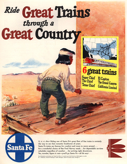 Santa Fe Ride Great Trains Great Country 1950   Vintage Travel Posters 1891-1970