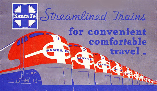Santa Fe Streamlined Trains For Travel 1950s | Vintage Travel Posters 1891-1970