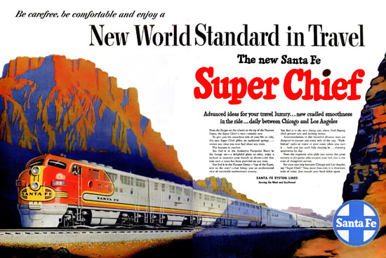 Santa Fe Super Chief Chicago – Los Angeles 1951 | Vintage Travel Posters 1891-1970