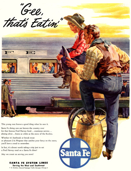 Santa Fe System Lines Cowboys 1947 by skiba | Vintage Travel Posters 1891-1970