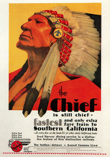 Santa Fe The Chief Is Still Chief 1929 | Vintage Travel Posters 1891-1970