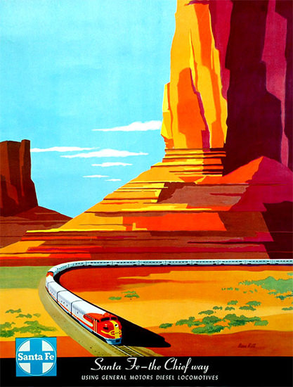 Santa Fe The Chief Way 1950s Monument Valley | Vintage Travel Posters 1891-1970