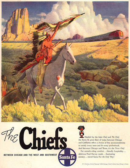 Santa Fe The Chiefs 1949 | Vintage Travel Posters 1891-1970