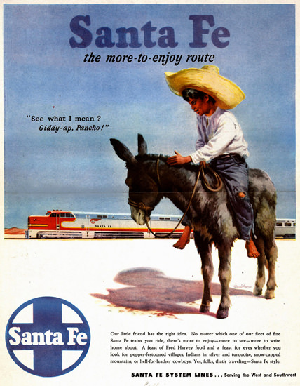 Santa Fe The More-To-Enjoy Route 1947 | Vintage Travel Posters 1891-1970