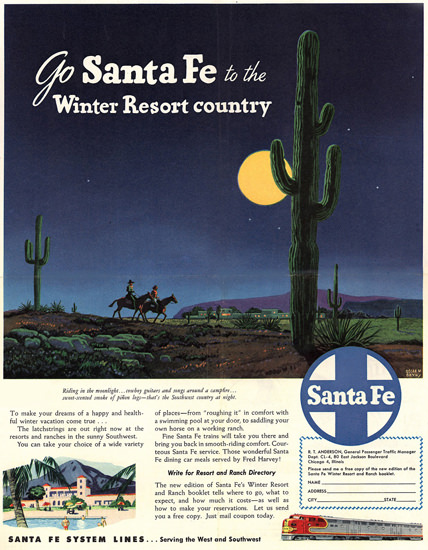 Santa Fe To The Winter Resort Country 1948 | Vintage Travel Posters 1891-1970