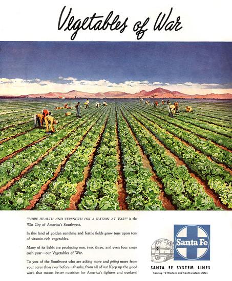 Santa Fe Vegetables Of War 1945 | Vintage War Propaganda Posters 1891-1970