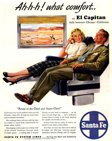 Santa Fe What Comfort 1948 | Vintage Travel Posters 1891-1970