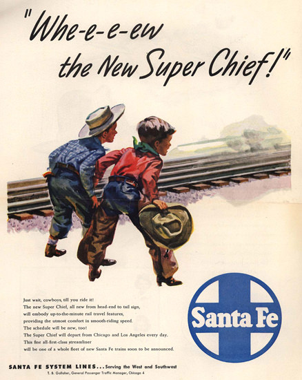 Santa Fe Wheeew The New Super Chief 1947 | Vintage Travel Posters 1891-1970