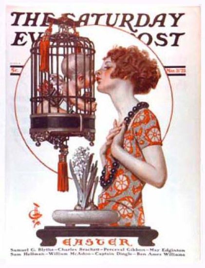 Saturday Evening Post Copyright 1923 Girl Kissing Cupid | Sex Appeal Vintage Ads and Covers 1891-1970
