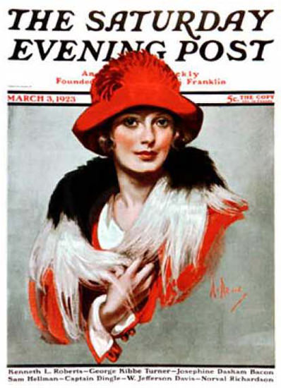 Saturday Evening Post Copyright 1923 Lady With Red Hat   Sex Appeal Vintage Ads and Covers 1891-1970