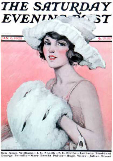 Saturday Evening Post Copyright 1923 The Girl With Muff   Sex Appeal Vintage Ads and Covers 1891-1970
