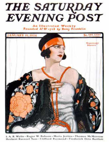 Saturday Evening Post Copyright 1924 Girl With Necklace | Sex Appeal Vintage Ads and Covers 1891-1970