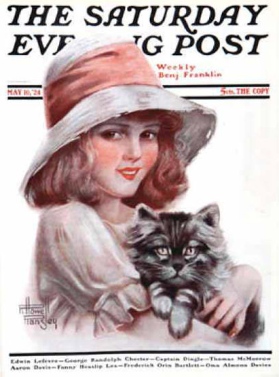 Saturday Evening Post Copyright 1924 The Girl With Cat | Vintage Ad and Cover Art 1891-1970