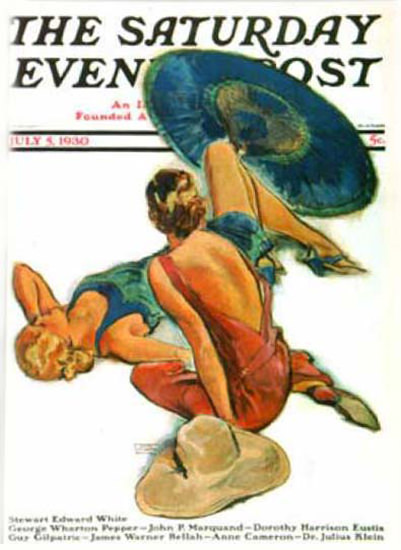 Saturday Evening Post Copyright 1930 Sunbathers LaGatta | Sex Appeal Vintage Ads and Covers 1891-1970
