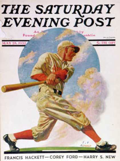 Saturday Evening Post Copyright 1932 Baseball Batter | Vintage Ad and Cover Art 1891-1970