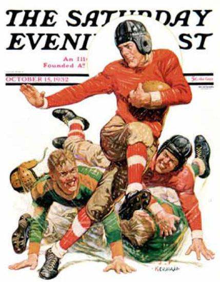 Saturday Evening Post Copyright 1932 College Football | Vintage Ad and Cover Art 1891-1970