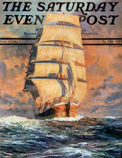 Saturday Evening Post Copyright 1932 Sailing Ship Red Sky | Vintage Ad and Cover Art 1891-1970