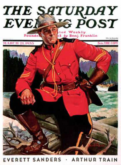 Saturday Evening Post Copyright 1933 Canadian Mountie | Sex Appeal Vintage Ads and Covers 1891-1970