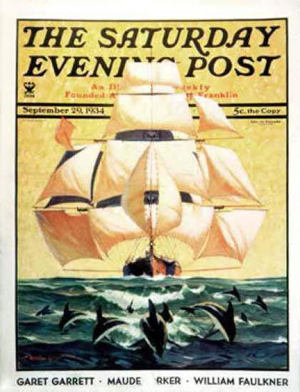 Saturday Evening Post Copyright 1934 Dolphins Sailing Ship | Vintage Ad and Cover Art 1891-1970