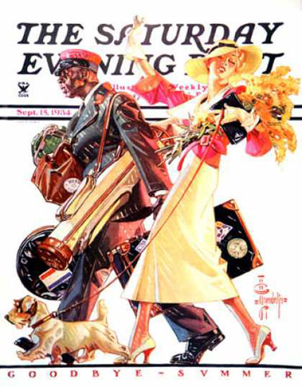 Saturday Evening Post Copyright 1934 End Of Vacation | Sex Appeal Vintage Ads and Covers 1891-1970
