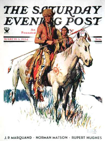 Saturday Evening Post Copyright 1934 Plains Indians | Vintage Ad and Cover Art 1891-1970