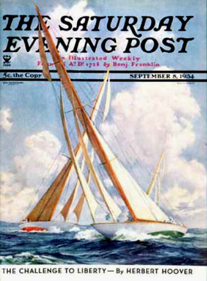 Saturday Evening Post Copyright 1934 Sailboat Regatta | Vintage Ad and Cover Art 1891-1970
