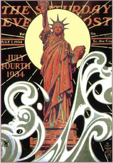 Saturday Evening Post Copyright 1934 Statue Of Liberty   Vintage Ad and Cover Art 1891-1970