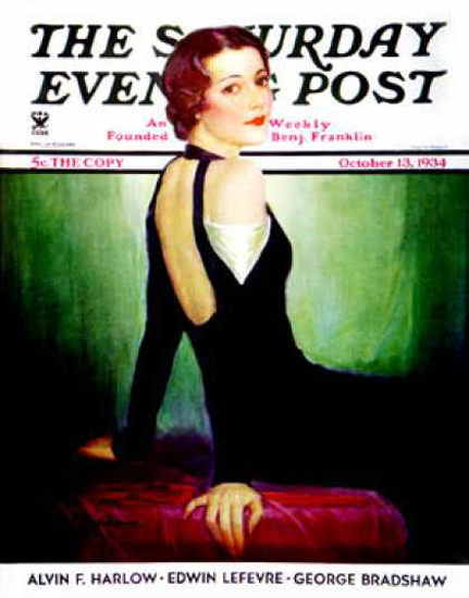 Saturday Evening Post Copyright 1934 Svelte In Black | Sex Appeal Vintage Ads and Covers 1891-1970