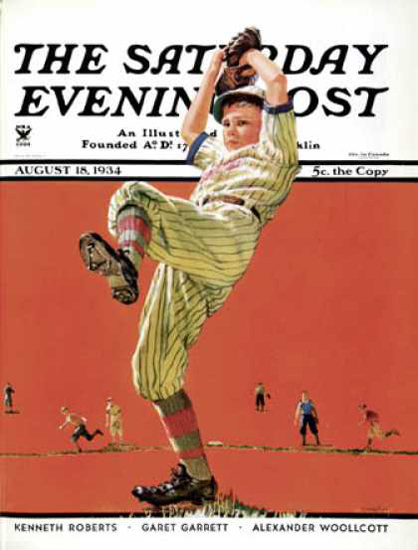 Saturday Evening Post Copyright 1934 The Baseball Windup | Vintage Ad and Cover Art 1891-1970